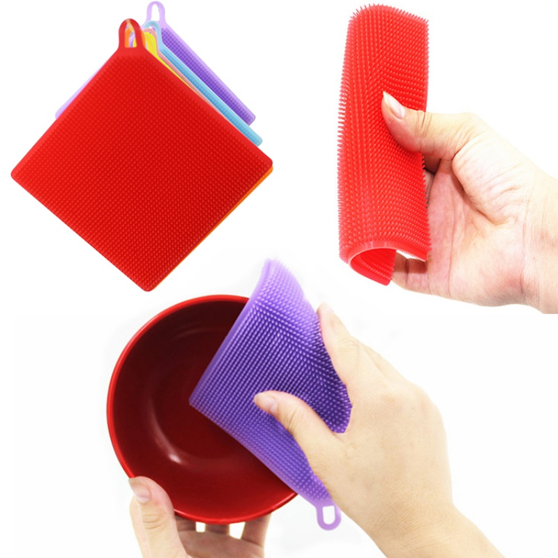 Square food grade silicone dish brush Multicolor optional 2018 creative household cleaning appliances