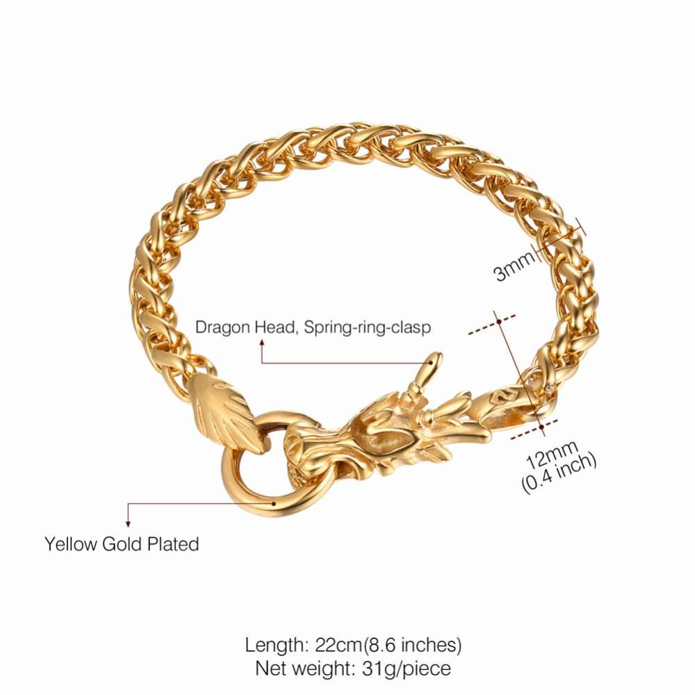 Starlord Men Bracelet Chinese Dragon Stainless Steel Gold Color Fashion Design Blessing Gift For Gh2703