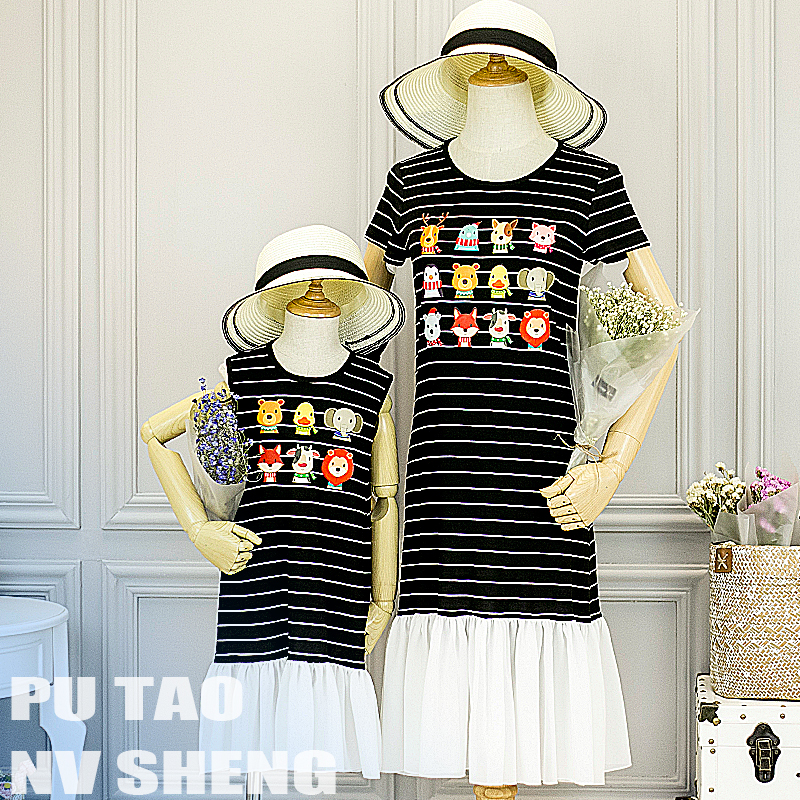 Summer children clothes women girls family matching clothing family look mother daughter Black and white stripes animal dresses 2018 brand new children clothes women girls family matching clothing family look mother daughter mom
