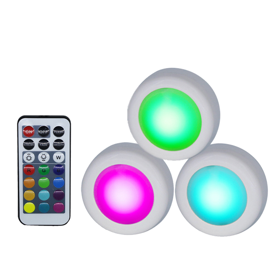 Xsky Wireless Under Cabinet Lights LED Puck Light RGB 12Color Dimmable Touch Sensor Night Lamp For Closet Wardrobe Stair Kitchen