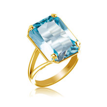 szjinao fashion New product Birthstone gold Ring for Women Square Blue Big Aquamarine Wholesale silver 925 jewelry Evening dress szjinao cute genuine 100