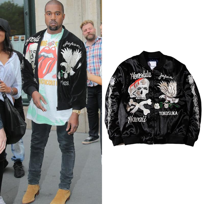 Kanye West noir broderie veste hommes Vintage crâne Floral hommes vestes et manteaux japonais Streetwear Hip Hop Bomber vestes