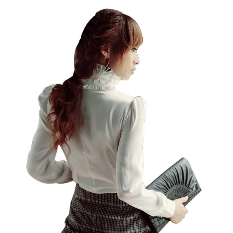2018 Ретро гофрированная блузка женская рубашка водолазка воротник длинный рукав блузки в деловом стиле топ Женская винтажная белая черная плюс размер 4XL