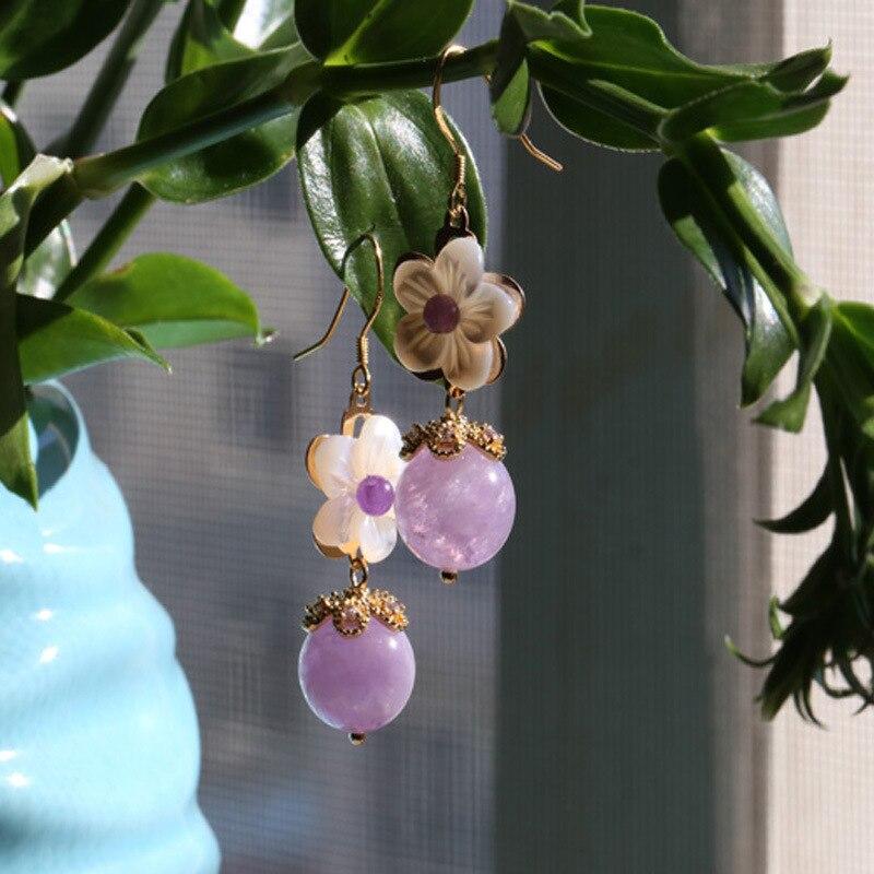 Boucles d'oreilles vintage en argent sterling 925 avec crochet d'oreille en pierre naturelle