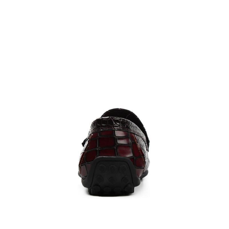 Conducción Casual Mycolen Slip Hombre Negro Personalidad On De Zapatos Hombres vino Tinto Cuero Mocasines Patrón Cocodrilo Verano xBnBA017g