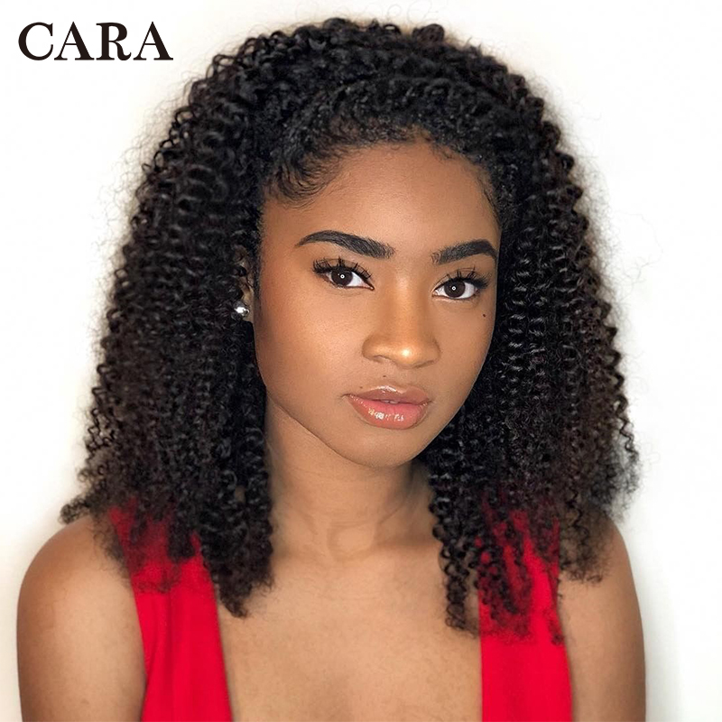 Mongolian Kinky Curly Human Hair Wig 360 Lace Frontal Wig Pre Plucked With Baby Hair Remy Wigs For Women Natural Black ColorCARA