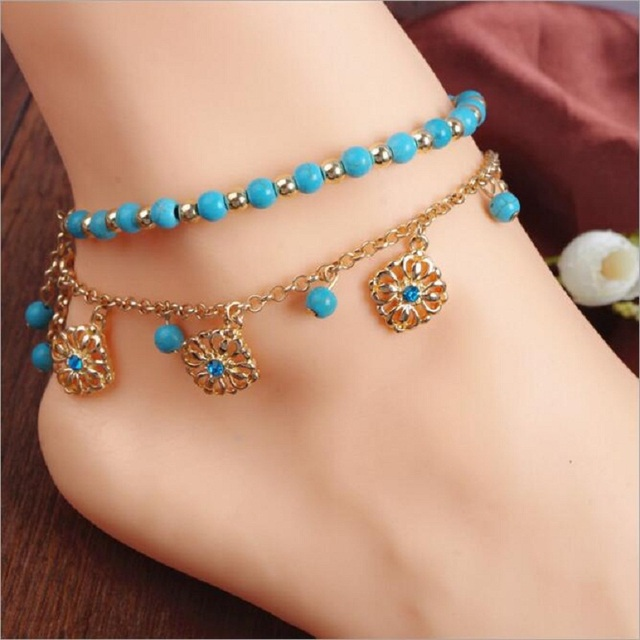 new women anklets beach wedding barefoot sandals stretch anklet blue chain footless bridal foot jewelry 364519