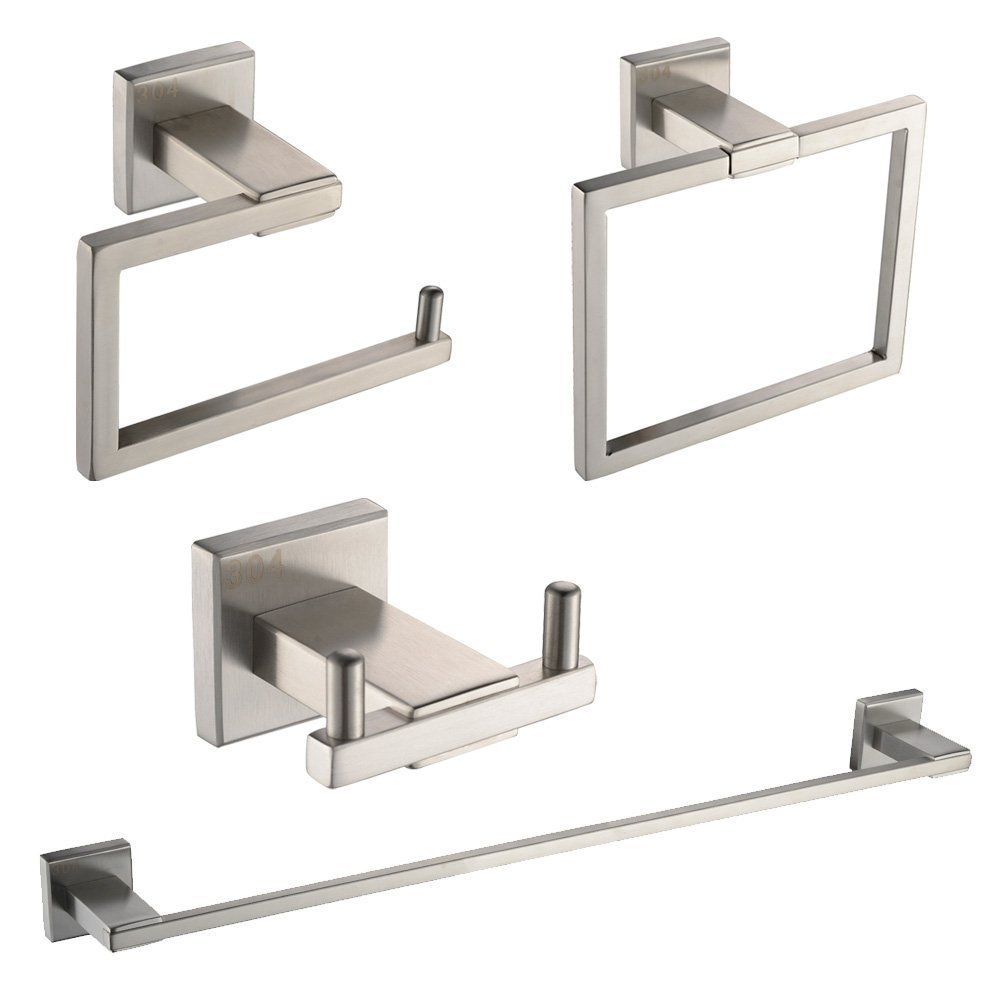 SUS304 Stainless Steel Wall Mount Brushed Bathroom 4 Piece Set Hardware Accessories 5pcs 304 stainless steel capillary tube 3mm od 2mm id 250mm length silver for hardware accessories