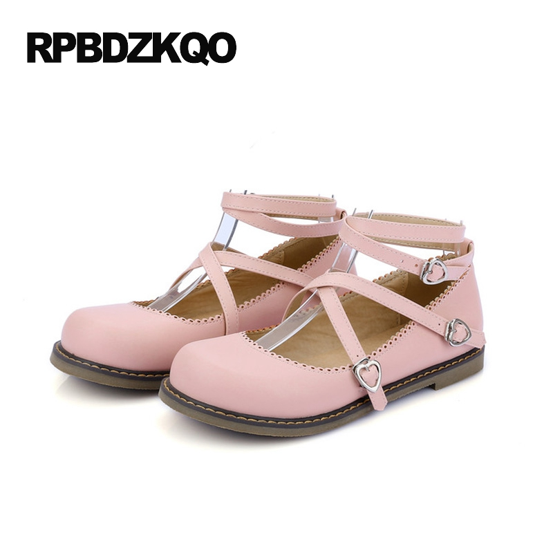 c6f58de6ea96d Ladies Custom Female Pink Lolita Round Toe 2017 Size 43 Japanese Leisure  Large Flats 33 Low