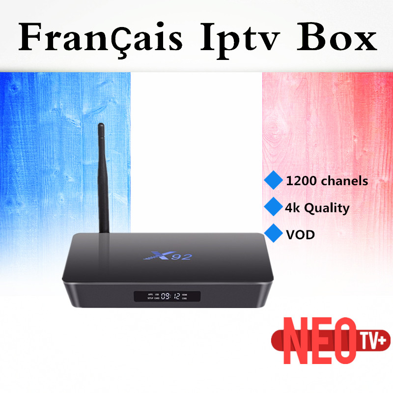 France IPTV box X92 with neo iptv android 7.1 3000 live & vod Amlogic S912 android tv box 3g/32gb Smart tv box free shipping