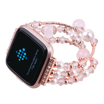 For Fitbit Versa 2 Strap Fashion Beaded Watch Bracelet for Fitbit Versa 1/2 Smart Watch Replacement Band for Fitbit Versa Lite