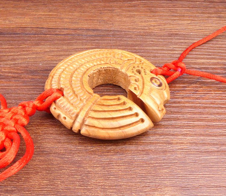 Long Yi Chi dragon bois sculpture pendentif pendentif zodiaque dragon univers voiture Jushi 2050215 - 5