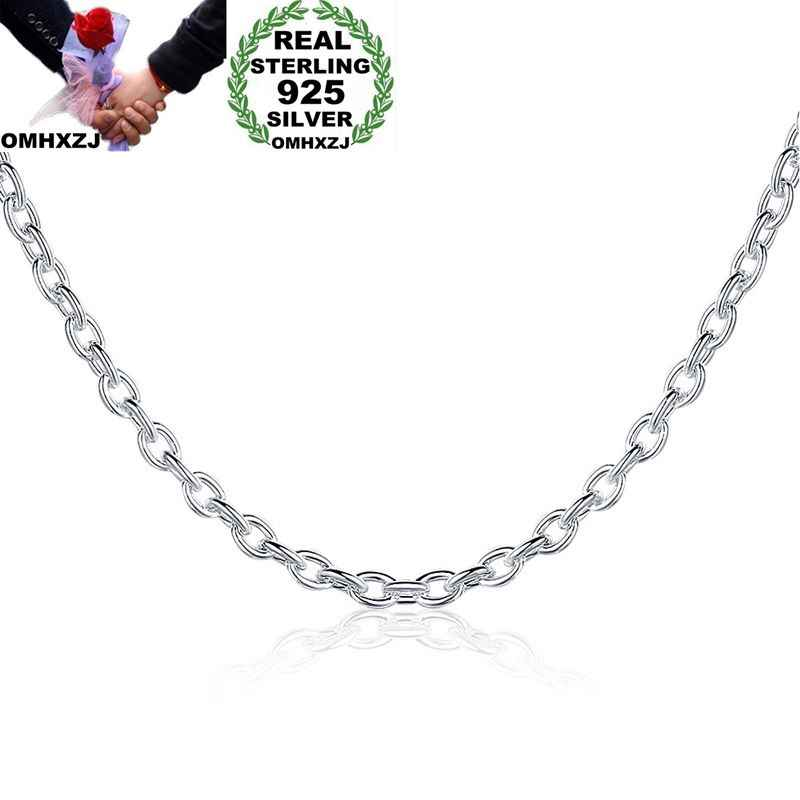 OMHXZJ Wholesale Personality Fashion OL Woman Girl Party Gift Silver 3MM Cross Chain 925 Sterling Silver Chain Necklace NC194