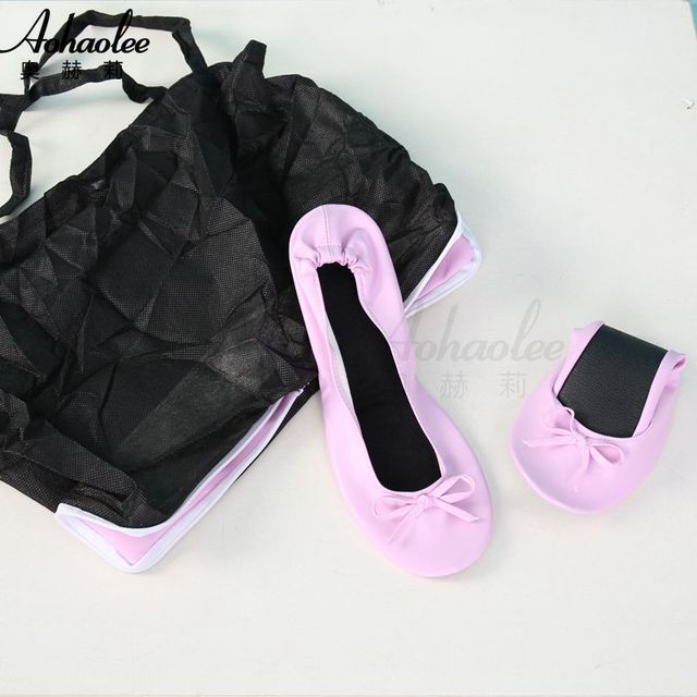 Aohaolee Woman PU Ballerina Fitness Ballet Flats Foldable Shoes Portable Ballet Dancers comfortable Ballroom Women Shoes