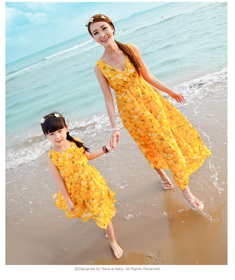 768e12de77a9 New Fashion Mother Daughter Dresses Clothes Sleeveless V neck White And  Yellow Dress Family Matching Outfits AF1694-in Family Matching Outfits from  Mother & ...