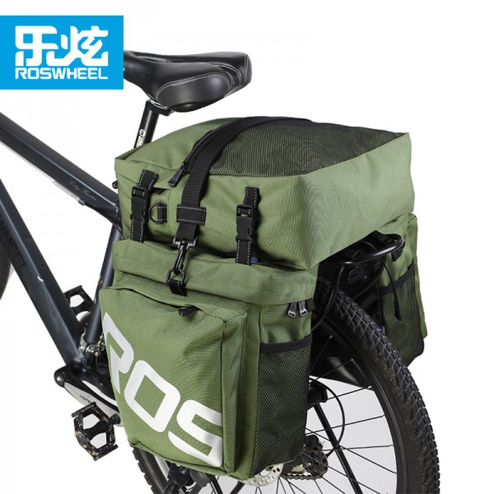 ROSWHEEL 3 Inch Bicycle Waterproof Bag MTB Mountain Bike Rack Bag Multifunction Cycling Velo Luggage Carrier Bag Bolso Bicicleta roswheel 3l 10l bicycle saddle bag waterproof mountain road bike rear rack bags adjustable cycling mtb tail seat bag bicicleta