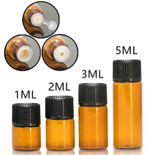 1ml 2ml 3ml 5ml mini garrafa de óleo essencial de vidro âmbar com tampa preta garrafa de vidro marrom teste de amostra garrafas recarregáveis 100 pces