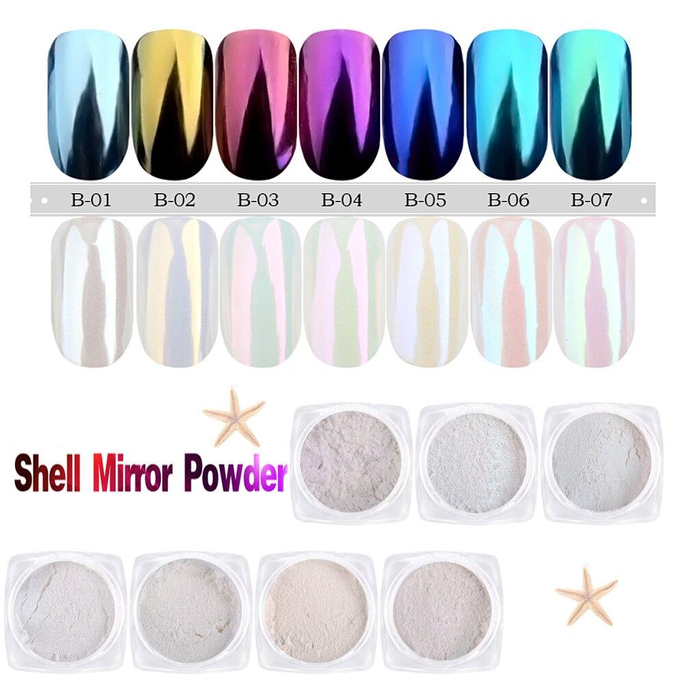 Us 0 88 5 Off Shell Powder Rainbow Chameleon Color Powder Dust Mirror Nail Art Glitter Diy Chrome Pigment Decoration Nail Art Accessories In Nail