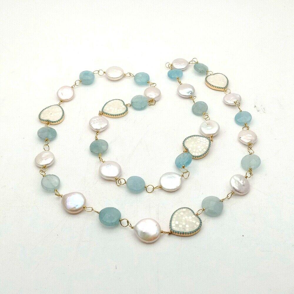 Pièce blanche perle Aquamaine connecteur de coquillage Long collier 30'' - 3