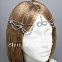 Freeshipping Wholesale Retail Fashion Star Desig Vintage Chain With Gems Bow Headband Popular Start Design Hair