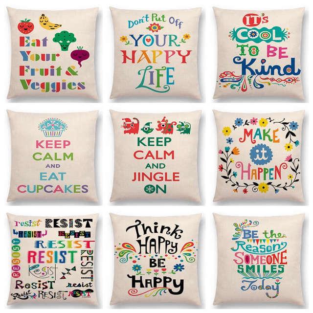 arco iris colorido letras decorativas feliz caliente palabras diversin todos los das sea enrgico vida fundas - Letras Decorativas