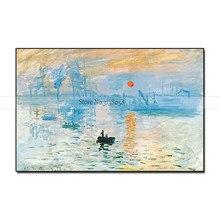 Impresión de Arte de copia de alta calidad, pintura al óleo de Sunrise, Claude Mone, lienzo, decoración de pared grande hecha a mano para regalo para el salón