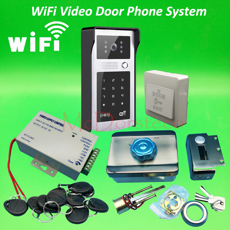 Android ISO App WIFI Video Door Phone RFID & Code Keypad Doorbell Kit Mute Electric Rim Lock System + 12V3A Power Unit