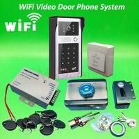 Android ISO App WIFI Video Door Phone RFID Code Keypad Doorbell Kit Mute Electric Rim Lock