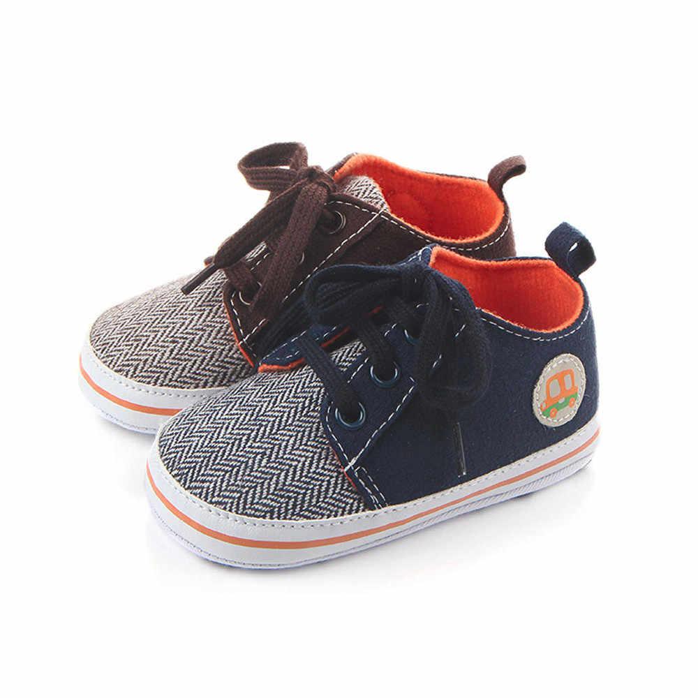MUQGEW נעלי האביב של ילדי ילד אופנה תינוק בויז רכב Cartoon הדפסת שרוכים נעליים אנטי להחליק נעל נעלי בד אופנה