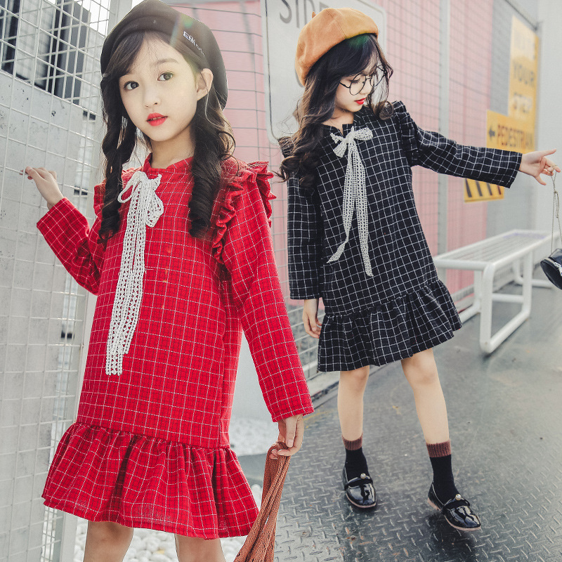 Spring Girls Dress Teenage Baby Girl Casual Dress 4 5 6 7 8 9 10 11 12 13 Years Plaid Kids Dresses Brand Children Clothing 2017 autumn girls dresses 3 4 5 6 7 8 9 10 years long sleeve plaid dress for girl clothes cotton pattern baby children clothing