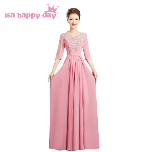 e3dfcd53a0 US $45.22 5% OFF|modern women long blush chiffon plus size formal floor  length bridesmaid dresses bridesmaids dress women gown for woman H3582-in  ...