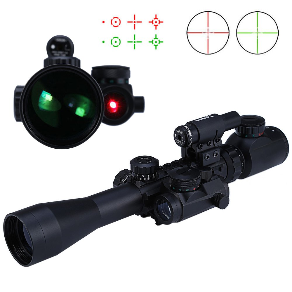 3 - 9X40EG Red / Green Illuminated Riflescope Optics Sniper Scope Sight Hunting Red Laser with 20mm Rail Mount for Hunting