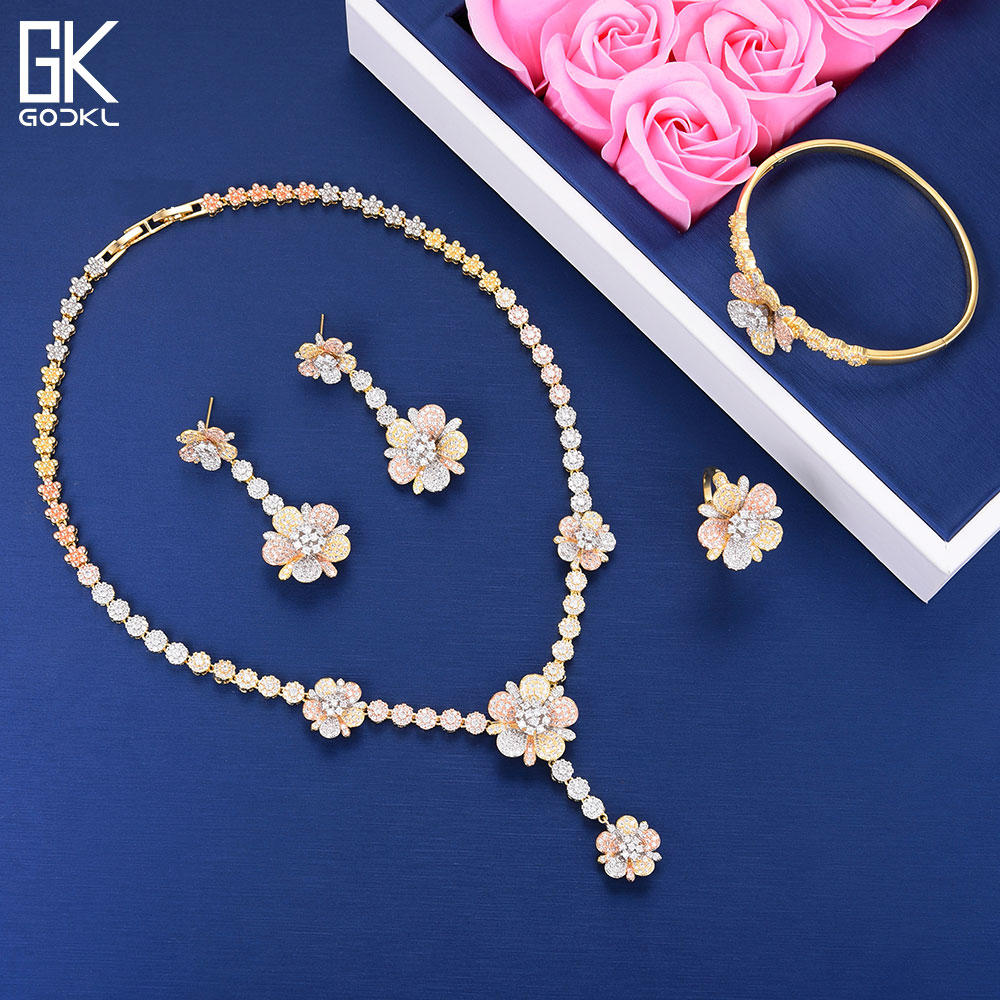 GODKI Luxury Flower Necklace Earring Sets Cubic Zircon Water Drop jewelry Sets for women Wedding Indian Bridal Jewelry Sets 2018 be8 luxury red water drop pendant jewelry set for women 5 colors bohemia necklace earring sets bridal dress accessories s 024