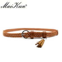 Maikun Thin Belts for Women High Quality PU Leaather Lady Belt Exquisite Braided Tassel Female Belt for Dress Jeans
