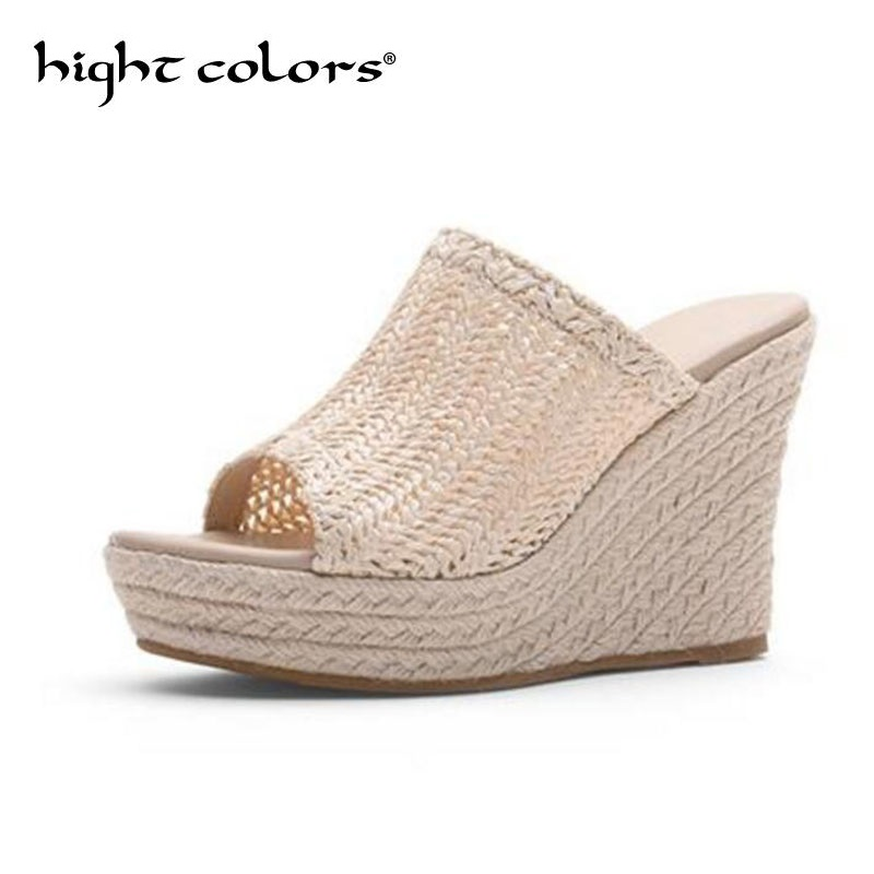 Zapatillas Tacones Verano La Señoras Altos De Fuera Paja Mujer Plataforma Cuña Zapatos bvIfy6Y7g