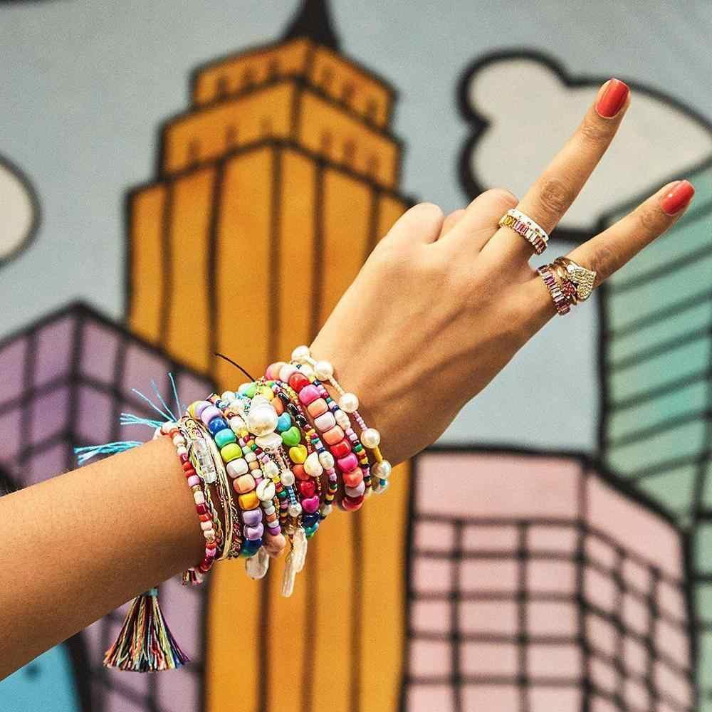 Girlgo INS ลูกปัดอะคริลิคที่มีสีสันสำหรับผู้หญิงทุกวันสวมใส่ Charm จำลองไข่มุกกำไลข้อมือสำหรับผู้หญิงอุปกรณ์เสริม