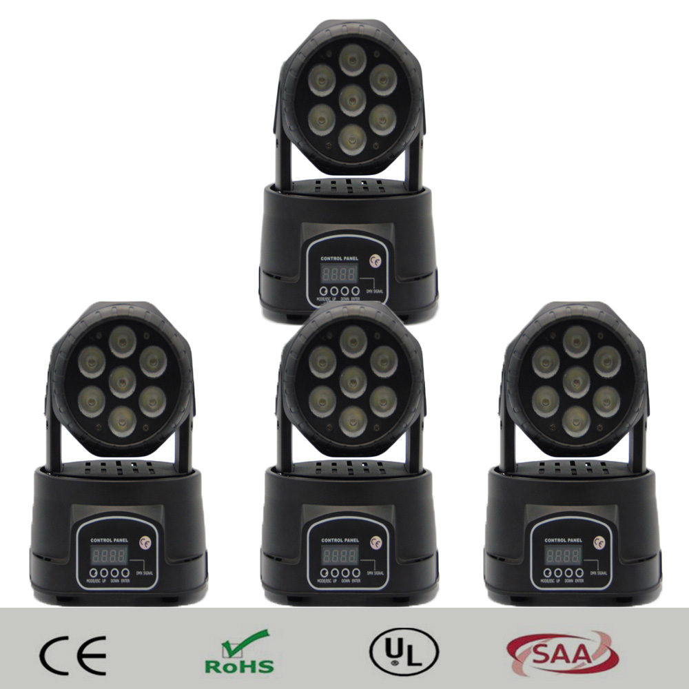 (4 pieces/lot) mini moving head led wash moving head spot light 7x12w rgbw quad DMX 14 channels full color led spot wash lights 4pcs lot professional american dj led lighting led moving head light wash mini 7x12w rgbw dmx 7 12 channels