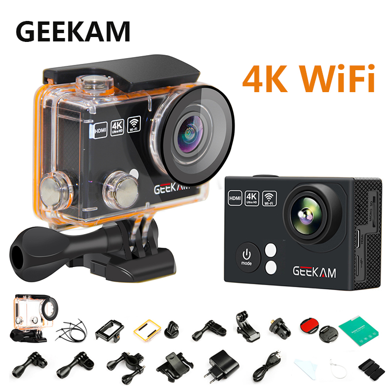 GEEKAM H2/H2R 4K Wifi Action Camera Full HD 4K 25FPS 30M Go Waterproof Pro Outdoor Sport Camera Mini DV Bike Helmet Car Cam DVR wimius 4k action cam wifi 20m mini sport helmet fpv camera full hd 1080p go waterproof underwater 30m pro dvr for bike motorcyle