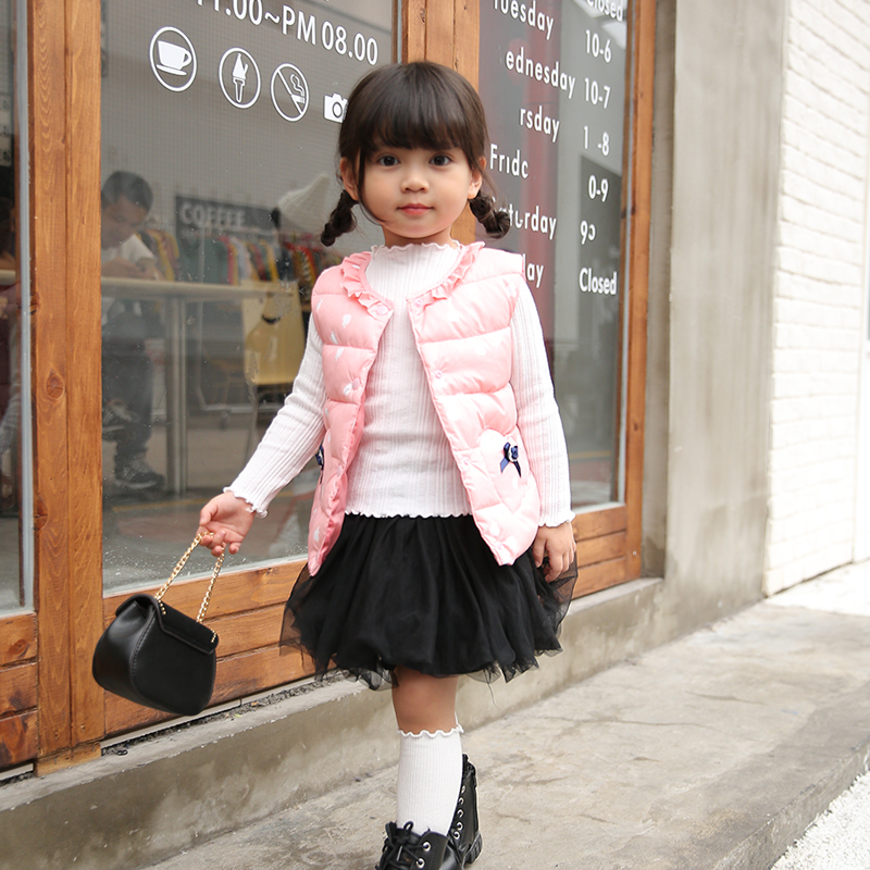 Baby Cotton Vests Girls Winter Warm Waistcoats Children Spring Clothes Kids With Lovely Pocket