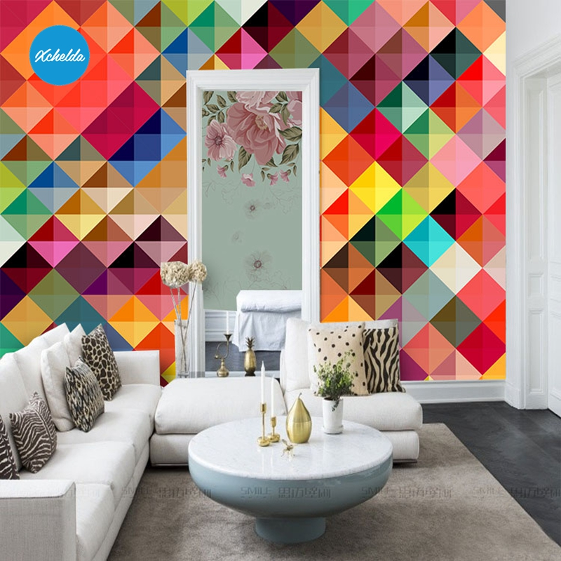XCHELDA 3D Mural Wallpapers Custom Painting Colored Geometric Design Background Bedroom Living Room Wall Murals Papel De Parede custom 3d wall murals wallpaper luxury silk diamond home decoration wall art mural painting living room bedroom papel de parede