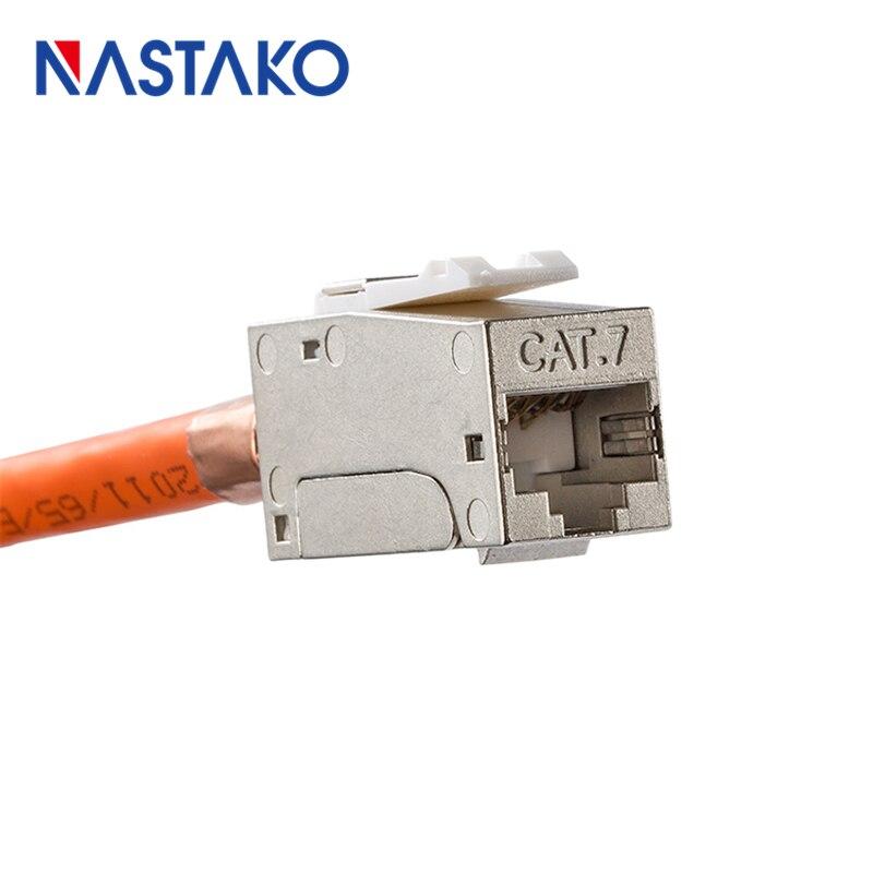 NASTAKO CAT7 Full Shielded Keystone Jack Tool-free RJ45 connector Information socket Cable adapter Compatible for Cat 6A Cat6 nastako 50 100pcs ez rj45 cat6 connector cat5e cat6 network connectors 8pin shielded modular plug rj45 jack terminals have hole