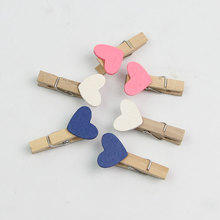 Cute Wooden Mini Clip Wood Pegs Kid Crafts Party Favor Supply 35mm Heart Wedding Room Decor Gifts