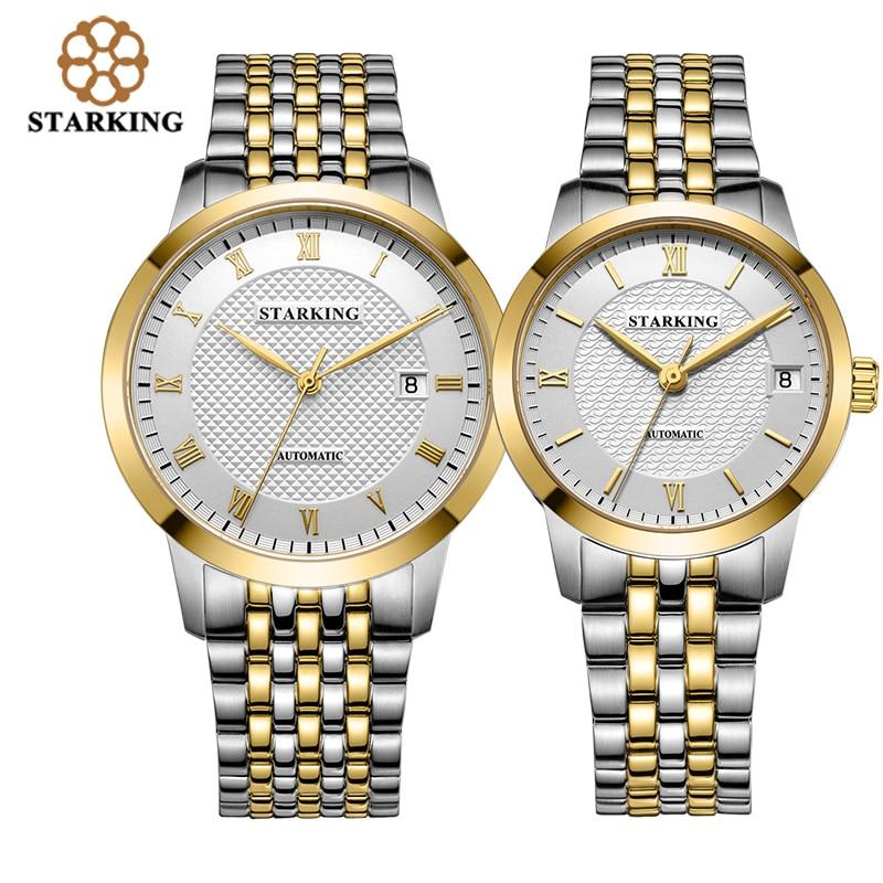 Famous Brand Starking Lovers Watches Women&Men's Watch Stainless steel waterproof Couples Automatic self-wind Movt Wristwatch стоимость
