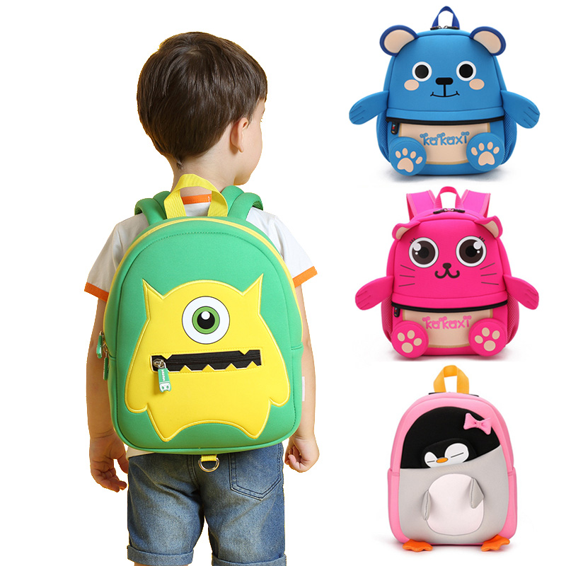 Fashion Children School Bags Cartoon Monster Backpack Waterproof Neoprene  Fabric For Toddler Boys Kindergarten Kids Schoolbag ... 3fce600b83387