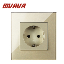 MVAVA 16A EU German Standard Schuko Sockets Wall Socket Power Electrical Plug Outlet Champagne Crystal Glass Panel Free Shipping