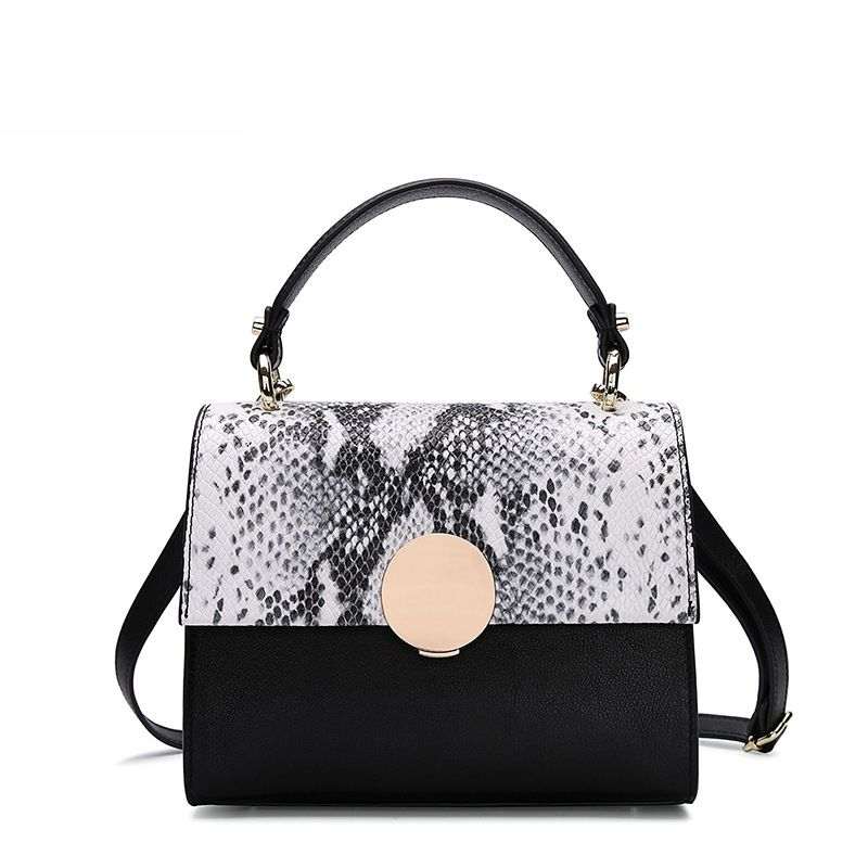 LOEIL Spring and summer new leather handbags fashion hijab snake small bag leather portable slung shoulder bag loeil autumn and winter leather cylinder bag female 2018 new cowhide round shoulder slung small bag portable