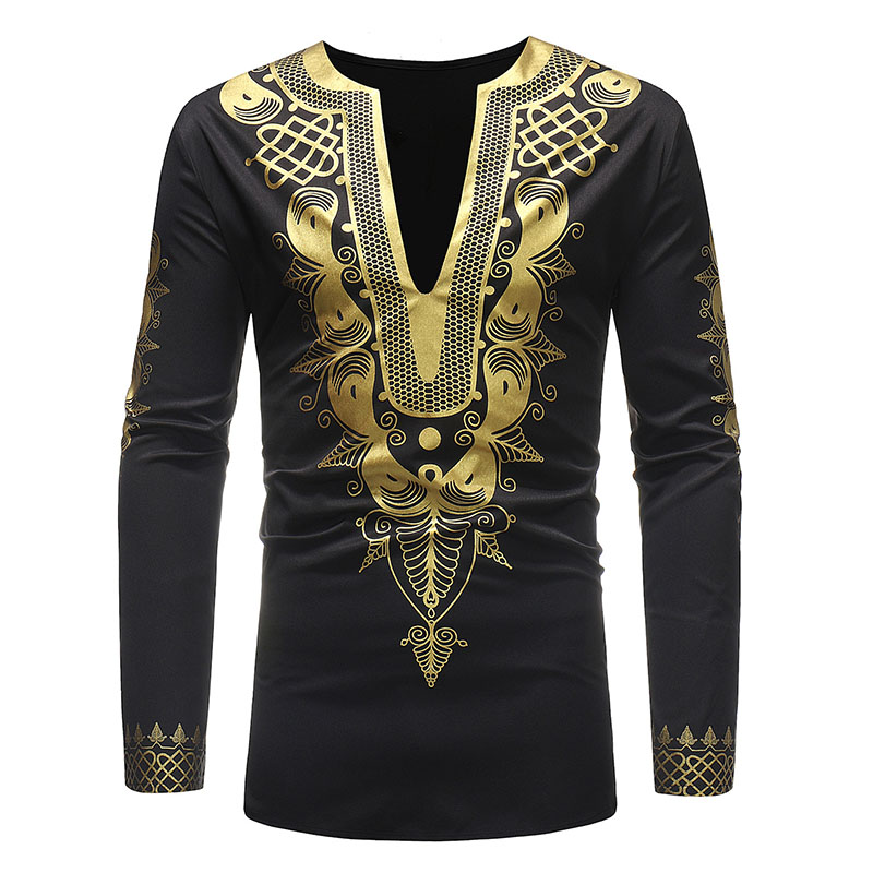 Adult Men African Dashiki Print Shirt Slit Collar Shirt With Long Sleeves Cotton Blend No Button Notch Top Shirt For Men M-3XL