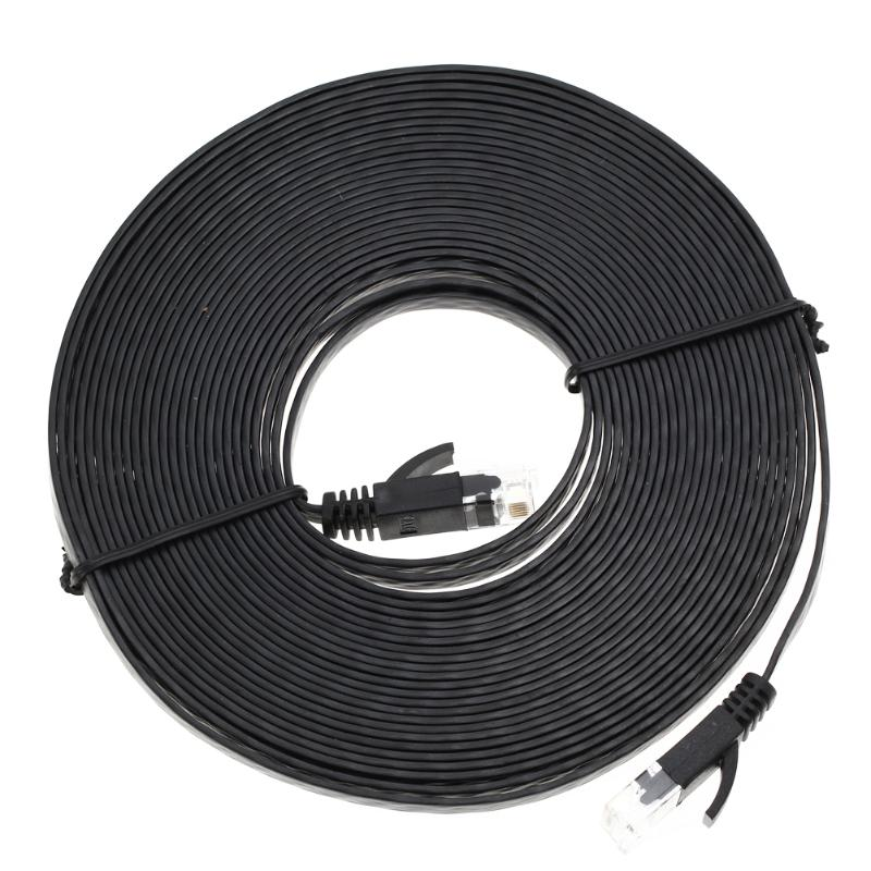 1M-10M Flat Cat6 Patch Cable Network Ethernet Patch Cable Ethernet Internet Network Cable RJ45 Patch LAN Cable Connector Black