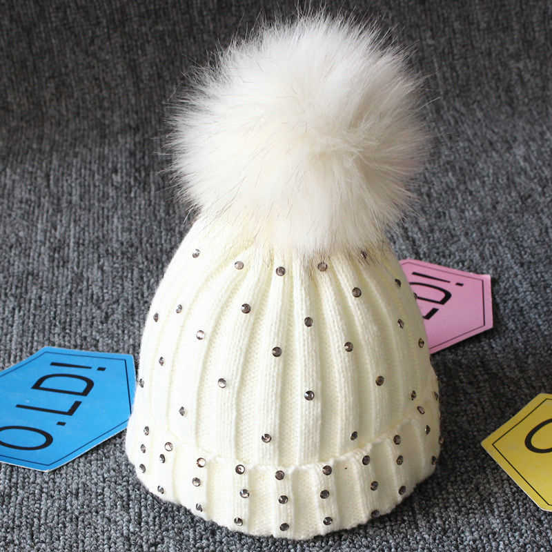 ... New Winter Baby Girl Hat Hot Sale Girls Knitted Crochet Hats With Pom  Pom Children Hat b2a69c5c0c3c