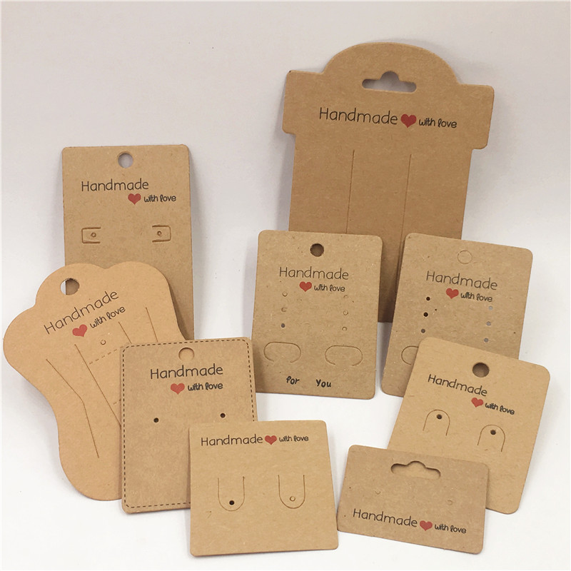 Multiple Style Size Necklace Earring Cards Series Kraft Paper Cardboard Handmade With Love Jewelry Display Package 100Pcs/Lot